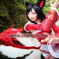 Wholesale New League of Legends LOL Dress Ahri the Nine Tailed Fox cosplay Costume Tails