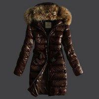 belted puffer coat - 2017 Fashion Winter Jacket Women Bright Black Brown Slim Down Coat with Belt Raccoon Fur Hood Duck Down Long Puffer Jackets
