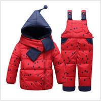 baby ski pants - New Baby Girls Down Coat Warm Snowsuits Hooded Jackets bib Pants Winter Children baby Clothing Set Kids Ski Suit Overalls