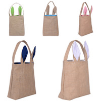 Wholesale Handbags Easter Bunny Bags Dual Layer Bunny Ears Design Jute Cloth Material Easter Egg Bags Carrying Eggs Gifts for Festival Party
