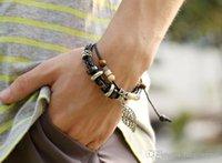 Acheter Bracelets en bois faits à la main-Les deux hommes et les femmes en cuir pur à la main en perles bracelet en cuir avec PU en alliage de perles en bois bracelet