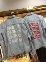 Wholesale Kanye West jacket I Feel Like PABLO Demin Jacket Letter Printed Ripped Hole Vintage Washed Outerwear Fashion Men Brand Jackets