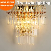art deco bracket - Hallway living bed room foyer bedside wall light lamp sconce wall luminaire bracket lamp with K9 crystal golden wall lamp light