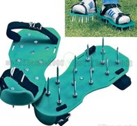 Wholesale Lawn Care Garden Grass Sod Aerator Spike Spiked Strap Shoes Garden Tools the roots much needed oxygen MYY