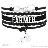 achat en gros de ciseaux charme bracelet-(10 Pieces / Lot) Infinity Love Coiffeur Farmer Hair Dresser Bracelet Ciseaux Charme Cire Suede Cuir Wrap Bracelet Personnalisé tous les thèmes