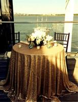 achat en gros de table gros couvre les mariages-Vente en gros de luxe 120 pouces de table ronde Couverture en or Nappe ronde en satin pour les mariages