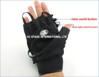 Wholesale Red Green Laser Gloves Dancing Stage Show Light With lasers and LED palm light for DJ Club Party Bars