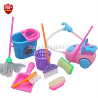Wholesale 9pcs Girl House Doll Accessories Toy Furniture Cleaning Kit Set Home Furnishing Funny Vacuum Cleaner Mop Broom Tools