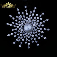 Celtic atomic gold - Sparkling White Shell Pearl Domed Cosmos Atomic CZ Brooch Silver Tone Irregular Tier Stone Modernist Explosion Comet Broaches