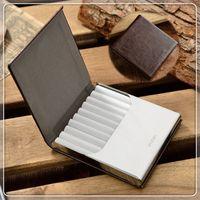 Wholesale- Nouvelle caisse de cigarette en cuir véritable de haute qualité pour 10 pièces Boîte à cigarettes en métal avec boîte à billets Outils pour cigarettes CB128