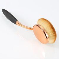 apply powder foundation - brushes make up set Hot set Tooth Brush Shape Oval Makeup Brush Set Black Rose Gold BB Cream Foundation Powder Cosmetics Applying