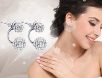 Wholesale High Quality Fashion Earrings Double Crystal Ball Stud elegant Earrings for Women and girl
