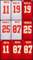 19 Jeremy Maclin 11 <b>Alex Smith</b> 25 Jamaic Charles 87 Travis Kelce elite Jerseys Bordado Logotipo 100% cosido