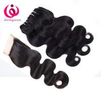 Indian Virgin Hair Body Wave Fermetures à la dentelle avec des paquets Extrusion de cheveux humains Remy sans traitement avec fermoir Cheveux indiens croustillants 8 à 26 pouces