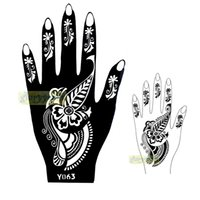 Wholesale pc New Seasons Classic Totem India Design Henna Hands Art Tattoo Template Mixture Picture Tattoo Stencils for Women Y063