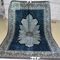100% Silk antique oriental carpets - 4 x6 Antique Persian Silk Area Carpet Hand Knotted Medallion Oriental Rugs