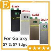 оптовых samsung назад корпус-OEM для Samsung Galaxy S7 Край G9300 G9350 стекло двери батареи задней стороны обложки Дело Корпус + клей наклейки Черный Белый Золото Серебро 10шт / Lot