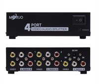 al por mayor divisor de puertos de audio-4 puertos 1 en 4 salidas 3 RCA AV Audio Video TV Box HDTV DVD PS 3 Splitter Amplificador