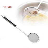 Wholesale YUMU New Kitchen Supplies Stainless Steel Spoon Strainer Water Spoon Oil Hot Pot Soya bean Milk Fruit Juice Filter Mesh Flour Sieve Sugar