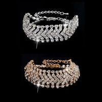 Wholesale Swarovski Elements Bridal Sets - Full TDW Diamond Wedding Bracelets Top Austrian Crystal Swarovski Elements Bracelets Colorfast Chain Bridal Bracelets fine jewelry