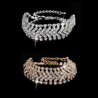 Wholesale Full TDW Diamond Wedding Bracelets Top Austrian Crystal Swarovski Elements Bracelets Colorfast Chain Bridal Bracelets fine jewelry