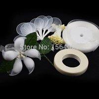 almond kits - DIY Jordan Almond Holders kits for Flower Favors almond holder floral tape green leaves flower stamens sheer ribbons