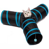 Wholesale 3 way Cat Tunnel with Dangling ball toys Triple Play Polyester Steel Collapsible Tube Fun for Rabbits Kittens and Dogs
