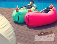 Wholesale New Fast inflatable Sleep bag Air Sofa Camping Banana Sleeping Bag Bed Chair Couch Lounger With side pocket