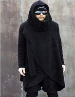 Yes asymmetrical hoodie men - Men s Turtleneck Irregular Asymmetrical Hoodies Fashion Warm Soft Fleece Casual Long Hooded Sweatshirts Autumn Winter