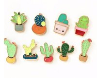 beautiful metal pins - X188 New Oil Drop Cute Cactus Pots Beautiful Metal Brooch Pins Button Pins Girl Jeans Bag Decoration Gift