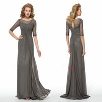 Wholesale Mother of the Bride Dresses with Half Sleeves Evening Gowns Cheap Mother s Dresses Sheer Neck Sleeves Ruched Chiffon Evening Dresses