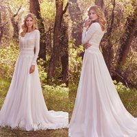 Wholesale Elegant Ivory Lace Long Sleeve Country Wedding Dresses A line Cheap Jewel Chiffon Court Train Bridal Gowns Custom Made EN1039