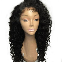 Wholesale Deep Curly Heat Resistant Synthetic Lace Front Wigs With Baby Hair Black Color