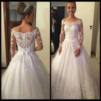 application models - Vestidos de noiva New Long Sleeves Bridal Dress A Line Applications Beading Tulle Long Wedding Gowns