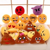 Wholesale Set of Emoji Pillows Inch Large Yellow Smiley Emoticon fashion Diameter cm Cute Emoji Cushion Smiley Pillows Stuffed Plush Toy