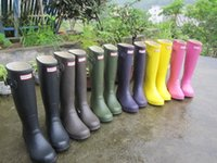 Wholesale Hunter Boots For women Rubber Hunter Wellies waterproof Low heel hunters with Buckle Strap solid color Rain boots men shoes
