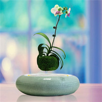 Wholesale Ice Crack Ceramic Flower Pots Magnetic Floating Bonsai Levitating ceramic plant pot decorate indoor with led light