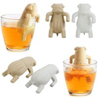 Wholesale 1Piece Lovely Tea Strainers Pug In A Mug Silicone Tea Infuser Kawai Portable Dog Tea Strainers