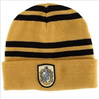 Wholesale Costumes For Students - Harry Potter Cap scarf suit Beanie Skull Caps Hats scarves set Cosplay Costume Caps School Striped Badge Hats students 4 Styles For Sale