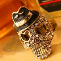 Wholesale Crystal Ring Designs Skull Ring ashion Jewelry Retro Cute Shinning Mr Skell Head Finger Ring Jewelry Alloy DHL Free