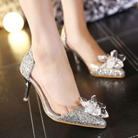 Women adhesive rhinestones - The Spring and Autumn New High heeled Shoes Transparent Diamond Tip Leisure Shoes