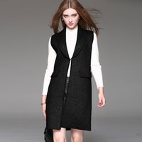 belted cashmere cardigan - Womens Lapel Neck Sleeveless Sweater with Pocket European and American Style Slim Sweater for Spring and Autumn