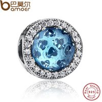 Wholesale Silver Blue Hearts Charm for Pandora Bracelet Sky Blue Crystal Clear CZ Charm Fit BME Bracelet Necklace Jewelry Accessories