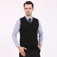 basic hand stitches - New Mens Brand Knit Vest Sleeveless Sweater Pullover V Neck Basic Pullover Tops for Autumn Winter