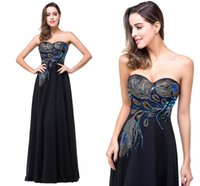 Wholesale 2017 Cheap Black A Line Chiffon Designer Prom Dresses Sweetheart Colorful Sequins Peacock Evening Dresses Formal Party Gowns Celebrity Gowns