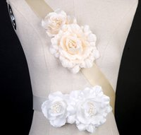 Wholesale Big Flower Satin Sashes White Or Champagne Bridal Belt Wedding Bridesmaid Sash New Arrival Bride Accessories