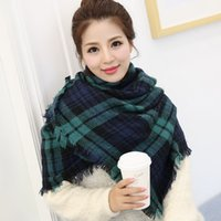 Wholesale Women Wool Casual Thick Green Plaid Shawl Autumn And Winter Super wide Fringed Cashmere Shawl