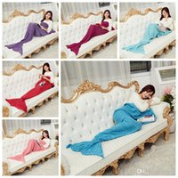 Wholesale 16 Colors Adult Mermaid Tail Blankets Mermaid Tail Sleeping Bags Cocoon Mattress Knit Sofa Blankets Handmade Living Room Sleeping Bag