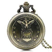 air force watches - Antique Vine Bronze Air Force Eagle Stars Quartz Pocket Watch Necklace Pendant Chain Mens Gift P103