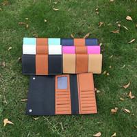 Monedero de cuero de imitación al por mayor Baratos-Venta al por mayor Blanks PU Faux cuero carpetas de dos tonos mujeres carteras titular de la tarjeta de las carpetas largas envío gratuito a USDOM103488